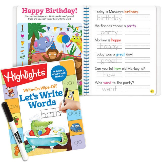 Let's Write Words book and tracing practice page