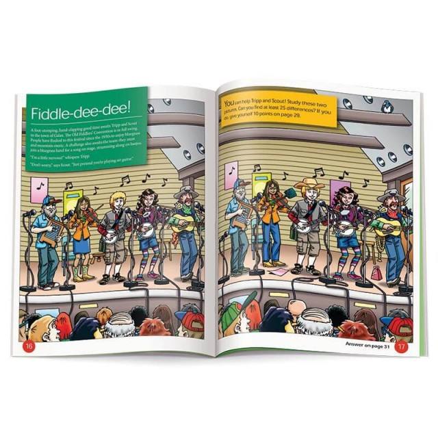 A find-the-differences puzzle featuring the Old Fiddler's Convention