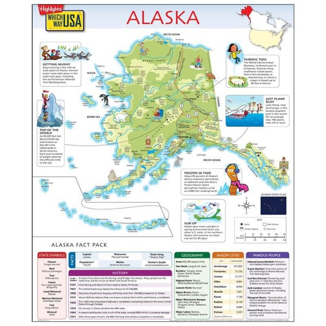 The Alaska map open to show facts and illustrations