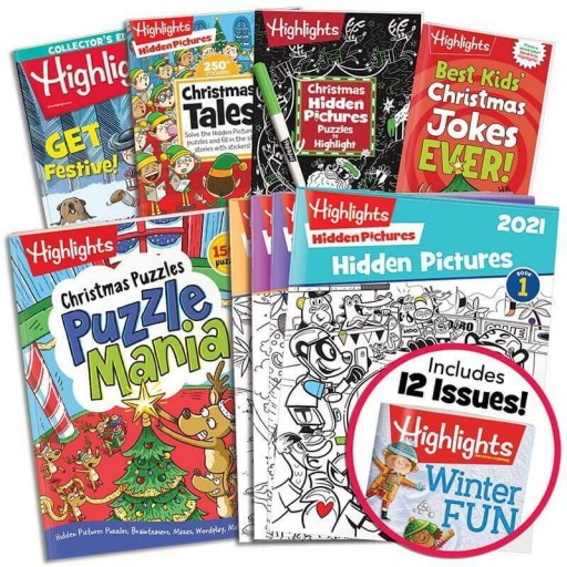 Deluxe Christmas Gift Set with 5 books, Hidden Pictures 2021 4-book set and Highlights magazine subscription