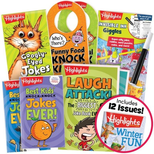 Deluxe Jokes and Riddles Gift Set with 6 books, two door hangers and Highlights magazine