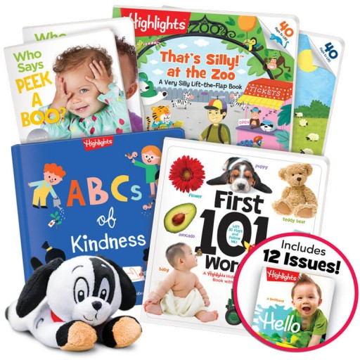 Baby & Toddler Gift Set includes 6 books and a plush toy