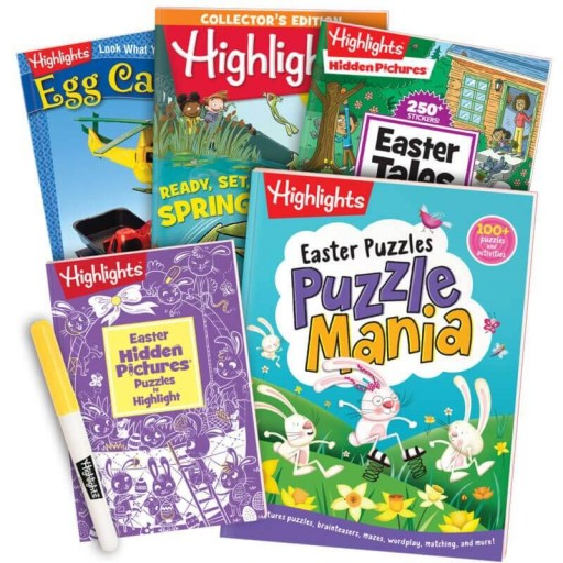 Easter Gift Set for ages 6+, with 5 books and yellow highlighter